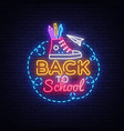 back to school neon sign design template vector image