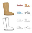 beige ugg boots with fur brown loafers with a vector image