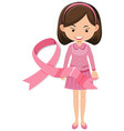 breast cancer pink ribbon with woman vector image vector image