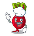 chef character organic beetroot in the garden vector image