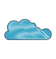 cloud icon flat in colored crayon silhouette vector image vector image