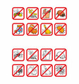 common allergens warning signs set vector image vector image