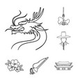 country south korea outline icons in set vector image