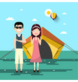 couple on camping trip with tent and landscape on vector image vector image