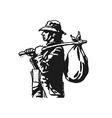 cowboy people print design black white vector image vector image