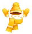 cute hat scarf and gloves vector image vector image
