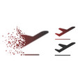damaged pixel halftone airplane departure icon vector image vector image