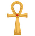 egyptian gold coptic cross or ankh with rustone vector image vector image