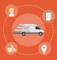 fast delivery banner commercial vehicle vector image