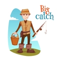 fisherman with bucket and vector image