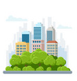 flat urban landscape with high skyscrapers trees vector image vector image