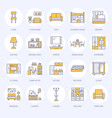 furniture flat line icons living room tv vector image