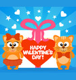 happy valentines day card with funny cats vector image vector image