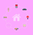 house icon surrounded with interior decor elements vector image vector image