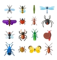 Insect icon flat set isolated on white background vector image vector image