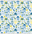 jewish holiday hanukkah seamless pattern with vector image