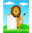 lion with blank sign vector image vector image