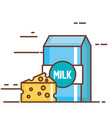 milk box with cheese vector image vector image