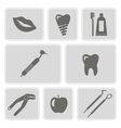 monochrome icons with dental symbols vector image