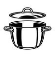 monochrome kitchen pan template vector image vector image