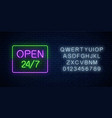 neon open 24 hours 7 days a week sign in vector image vector image