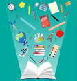 opened book and education items vector image vector image