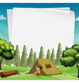 Paper design with man camping in woods vector image