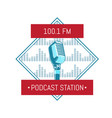 podcast station logo with microphone vector image vector image