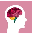 profile head with brain icon vector image