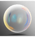 rainbow reflection soap bubble big transparent vector image vector image