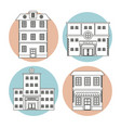 set differents building house business line vector image