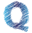 sketched letter Q vector image