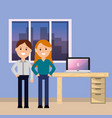 smiling young man and woman workspace desk vector image