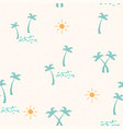 summer beach pattern with hand drawn palm tree vector image vector image