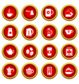 tea and coffee icon red circle set vector image vector image