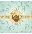 Teapot with herbal pattern vector image vector image