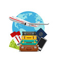 tourism suitcase pile plane and world map vector image