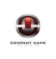 u 3d circle chrome letter logo icon design vector image