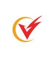 v letter lightning logo template vector image