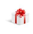 white gift box with red ribbon and bow in vector image vector image