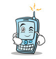 Wink face phone character cartoon style