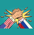usa vs russia arm wrestling fight confrontation vector image