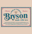 a vintage serif typeface with a big set of vector image