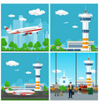 airport terminal airplane on the runway vector image