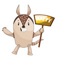 armadillo with happy sign on white background vector image vector image
