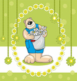 baby bear card and flowers on a green background vector image vector image