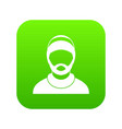 bearded man avatar icon digital green vector image