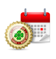 Beer cap and calendar vector image vector image