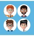 cartoon set portrait men business work vector image