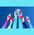 concept ecology human hands holding earth and vector image